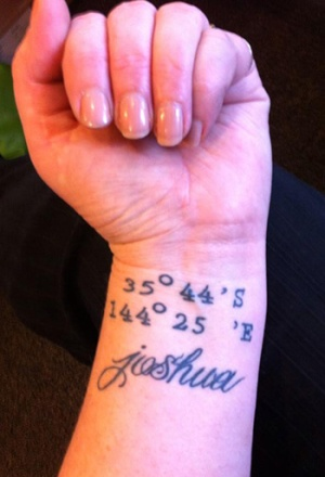 tattoo of co-ordinates and name Johsua