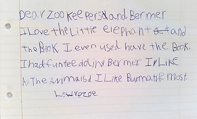 Dear Zookepers a letter from Zoe