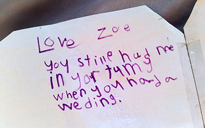 Zoe's handwriting you still had me in your tummy when you had a wedding